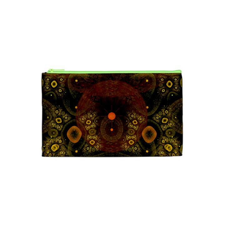 Fractal Yellow Design On Black Cosmetic Bag (XS)