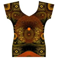 Fractal Yellow Design On Black Women s V-Neck Cap Sleeve Top