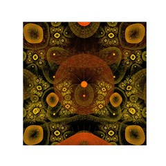 Fractal Yellow Design On Black Small Satin Scarf (square)
