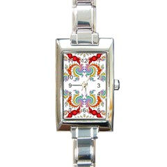 Fractal Kaleidoscope Of A Dragon Head Rectangle Italian Charm Watch