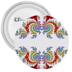 Fractal Kaleidoscope Of A Dragon Head 3  Buttons