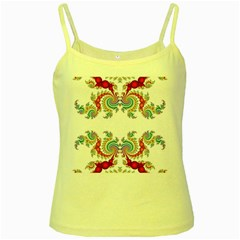 Fractal Kaleidoscope Of A Dragon Head Yellow Spaghetti Tank