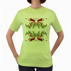 Fractal Kaleidoscope Of A Dragon Head Women s Green T Shirt