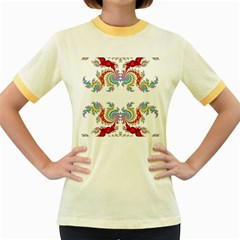 Fractal Kaleidoscope Of A Dragon Head Women s Fitted Ringer T Shirts