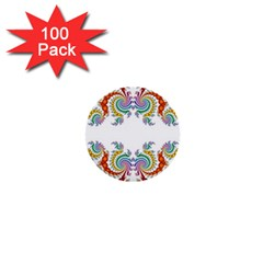Fractal Kaleidoscope Of A Dragon Head 1  Mini Buttons (100 Pack)