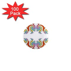 Fractal Kaleidoscope Of A Dragon Head 1  Mini Magnets (100 Pack)