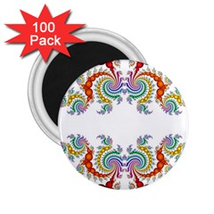 Fractal Kaleidoscope Of A Dragon Head 2 25  Magnets (100 Pack)