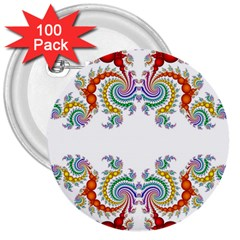 Fractal Kaleidoscope Of A Dragon Head 3  Buttons (100 pack)
