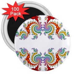 Fractal Kaleidoscope Of A Dragon Head 3  Magnets (100 Pack)