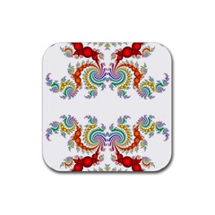 Fractal Kaleidoscope Of A Dragon Head Rubber Square Coaster (4 Pack)