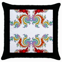 Fractal Kaleidoscope Of A Dragon Head Throw Pillow Case (black)