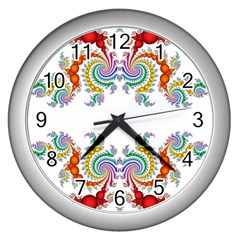 Fractal Kaleidoscope Of A Dragon Head Wall Clocks (silver)