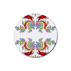 Fractal Kaleidoscope Of A Dragon Head Rubber Coaster (round)