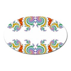 Fractal Kaleidoscope Of A Dragon Head Oval Magnet