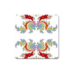 Fractal Kaleidoscope Of A Dragon Head Square Magnet