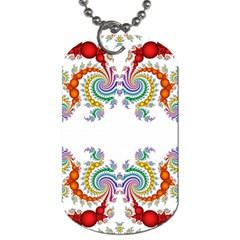 Fractal Kaleidoscope Of A Dragon Head Dog Tag (two Sides)