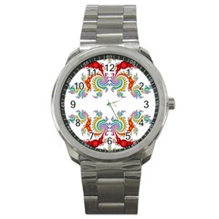 Fractal Kaleidoscope Of A Dragon Head Sport Metal Watch