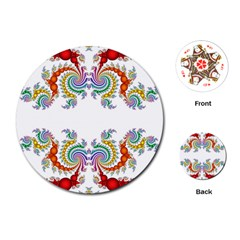 Fractal Kaleidoscope Of A Dragon Head Playing Cards (Round)