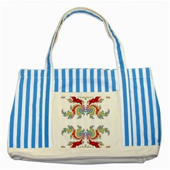Fractal Kaleidoscope Of A Dragon Head Striped Blue Tote Bag