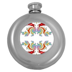 Fractal Kaleidoscope Of A Dragon Head Round Hip Flask (5 oz)