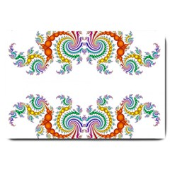 Fractal Kaleidoscope Of A Dragon Head Large Doormat