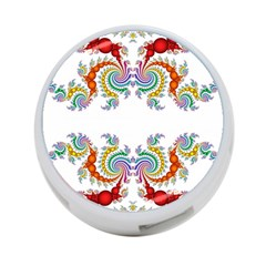 Fractal Kaleidoscope Of A Dragon Head 4 Port Usb Hub (one Side)