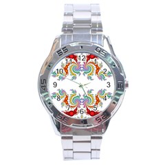 Fractal Kaleidoscope Of A Dragon Head Stainless Steel Analogue Watch
