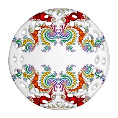Fractal Kaleidoscope Of A Dragon Head Round Filigree Ornament (Two Sides)