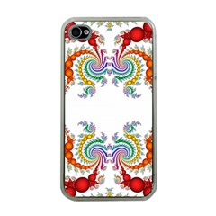 Fractal Kaleidoscope Of A Dragon Head Apple iPhone 4 Case (Clear)