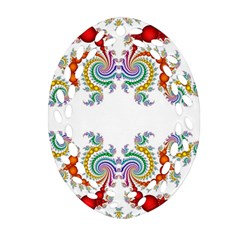 Fractal Kaleidoscope Of A Dragon Head Oval Filigree Ornament (two Sides)