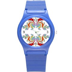 Fractal Kaleidoscope Of A Dragon Head Round Plastic Sport Watch (s)