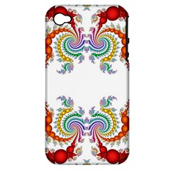 Fractal Kaleidoscope Of A Dragon Head Apple Iphone 4/4s Hardshell Case (pc+silicone)