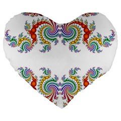 Fractal Kaleidoscope Of A Dragon Head Large 19  Premium Heart Shape Cushions
