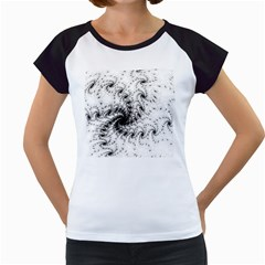 Fractal Black Spiral On White Women s Cap Sleeve T