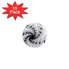 Fractal Black Spiral On White 1  Mini Magnet (10 pack)