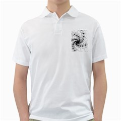 Fractal Black Spiral On White Golf Shirts