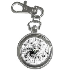 Fractal Black Spiral On White Key Chain Watches