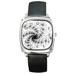 Fractal Black Spiral On White Square Metal Watch