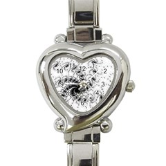 Fractal Black Spiral On White Heart Italian Charm Watch