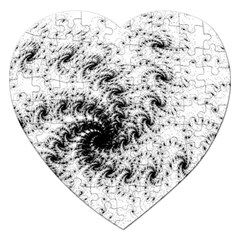 Fractal Black Spiral On White Jigsaw Puzzle (Heart)