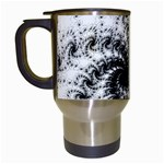 Fractal Black Spiral On White Travel Mugs (White) Left