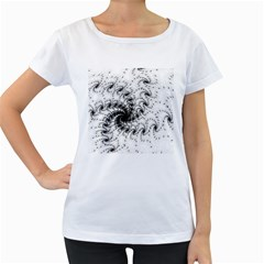 Fractal Black Spiral On White Women s Loose Fit T Shirt (white)