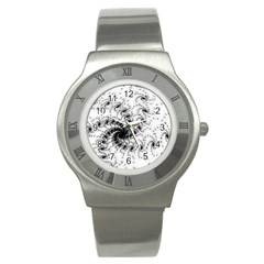 Fractal Black Spiral On White Stainless Steel Watch