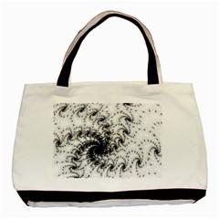 Fractal Black Spiral On White Basic Tote Bag