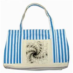 Fractal Black Spiral On White Striped Blue Tote Bag
