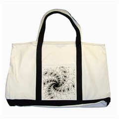 Fractal Black Spiral On White Two Tone Tote Bag