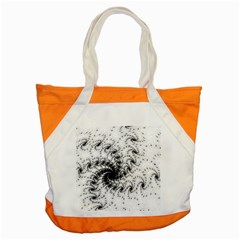 Fractal Black Spiral On White Accent Tote Bag