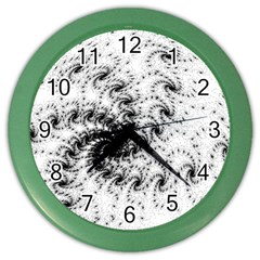 Fractal Black Spiral On White Color Wall Clocks