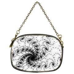 Fractal Black Spiral On White Chain Purses (one Side)