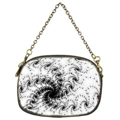 Fractal Black Spiral On White Chain Purses (two Sides)